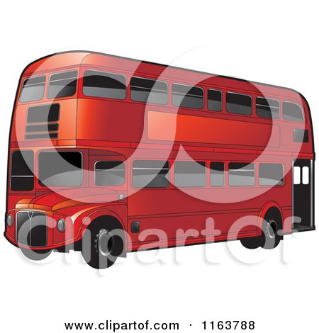 Clipart of a Red Double Decker Bus with Tinted Windows - Royalty Free Vector Illustration by Lal Perera