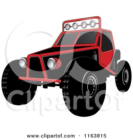 Clipart of a Red Dune Buggy - Royalty Free Vector Illustration by Lal Perera
