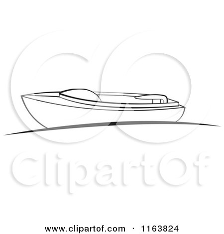 Clipart of a Black and White Boat at a Dock - Royalty Free Vector Illustration by Lal Perera