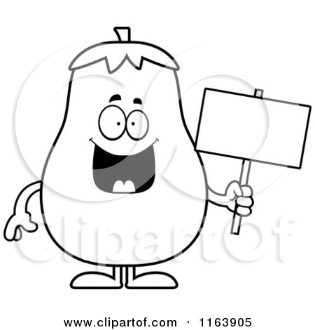 Cartoon of a Eggplant Mascot Holding a Sign - Vector Outlined Coloring Page by Cory Thoman