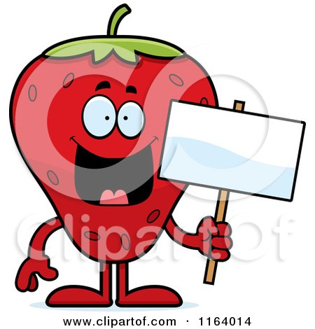 Cartoon of a Strawberry Mascot Holding a Sign - Royalty Free Vector Clipart by Cory Thoman