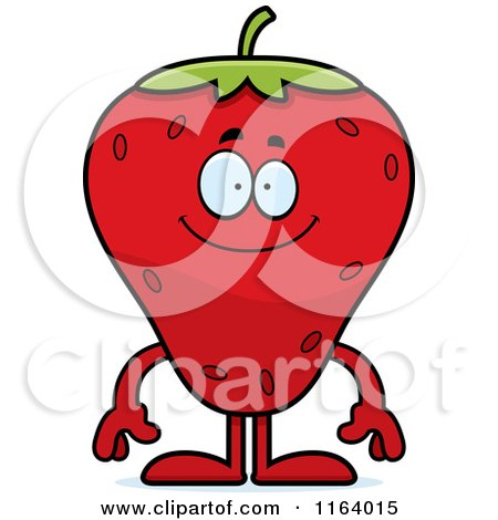 Cartoon of a Happy Strawberry Mascot - Royalty Free Vector Clipart by Cory Thoman