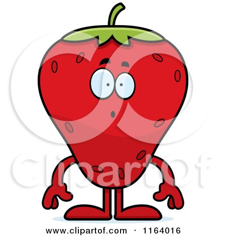 Cartoon of a Surprised Strawberry Mascot - Royalty Free Vector Clipart by Cory Thoman