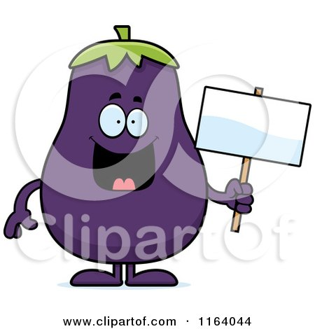 Cartoon of a Purple Eggplant Mascot Holding a Sign - Royalty Free Vector Clipart by Cory Thoman