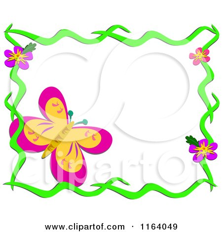 Cartoon of a Large Butterfly in a Floral Frame - Royalty Free Vector Clipart by bpearth