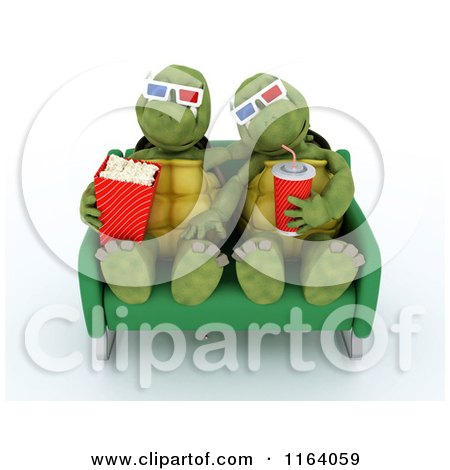 Clipart of 3d Tortoises Watching a Movie with Snacks - Royalty Free CGI Illustration by KJ Pargeter