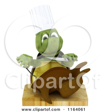Clipart of a 3d Chef Tortoise Carving a Roasted Chicken - Royalty Free CGI Illustration by KJ Pargeter