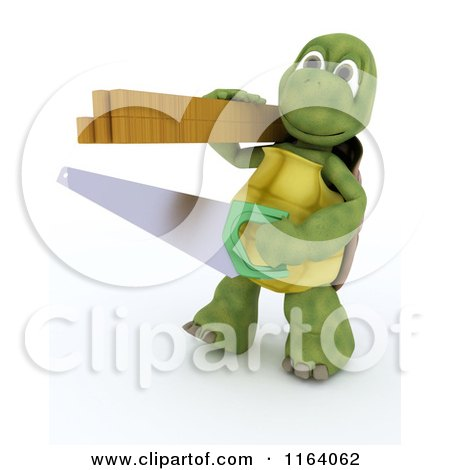 3d Carpenter Tortoise with a Saw and Lumber Posters, Art Prints
