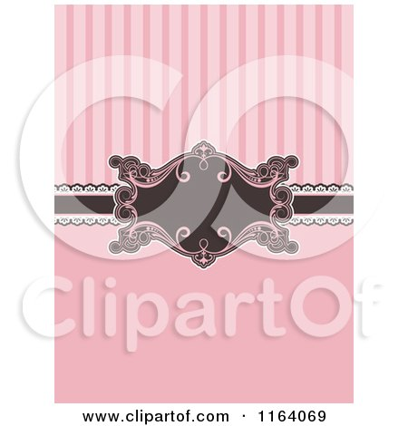 Clipart of a Pink and Brown Invitation with Stripes and a Frame - Royalty Free Vector Illustration by KJ Pargeter