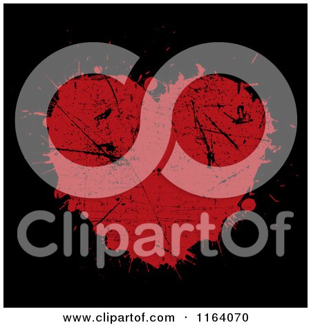 Clipart of a Grungy Red Heart Splatter on Black - Royalty Free Vector Illustration by KJ Pargeter