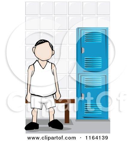 Cartoon of a Faceless Man in a Locker Room - Royalty Free Vector Clipart by David Rey