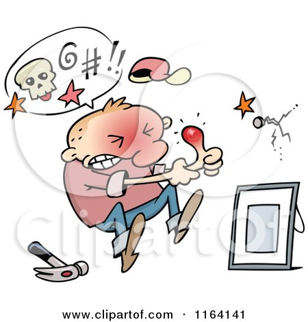 Cartoon of a Man Holding His Throbbing Thumb After Hitting It with a Hammer - Royalty Free Vector Clipart by gnurf