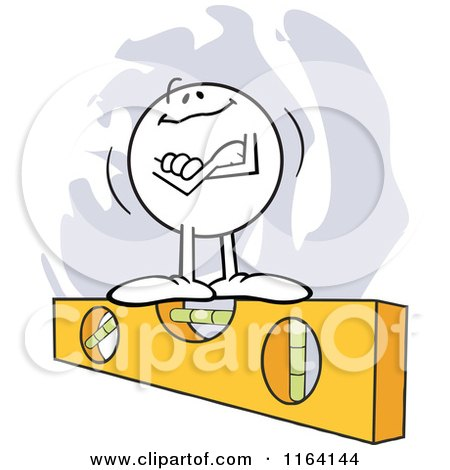 Cartoon of a Moodie Character Standing Proudly on the Level - Royalty Free Vector Clipart by Johnny Sajem