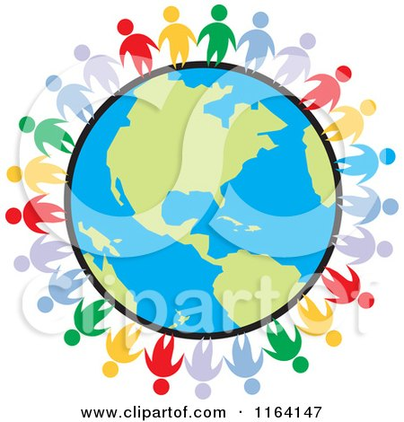 Cartoon of a Network of Colorful People Standing Around the World - Royalty Free Vector Clipart by Johnny Sajem