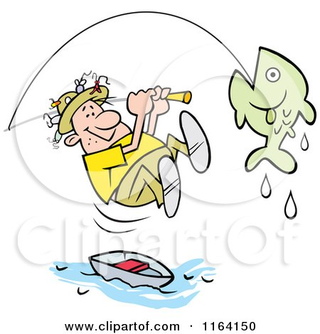 Cartoon of a Fisherman Leaping from His Boat to Reel in a Fish - Royalty Free Vector Clipart by Johnny Sajem