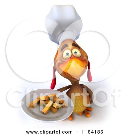 3d Chef Chicken Holding a Plate of Fries Posters, Art Prints