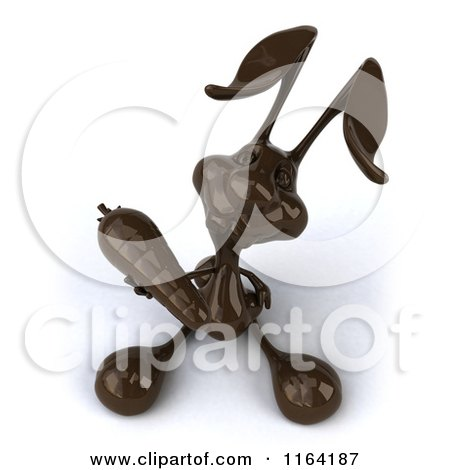 Clipart of a 3d Dark Chocolate Easter Bunny Holding a Carrot - Royalty Free CGI Illustration by Julos