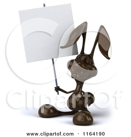 Clipart of a 3d Dark Chocolate Easter Bunny Holding a Sign - Royalty Free CGI Illustration by Julos