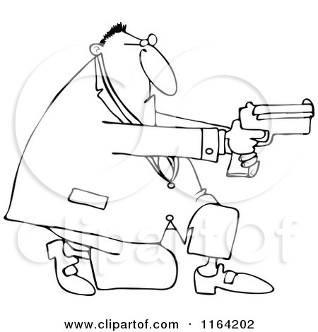 Cartoon of an Outlined Kneeling Man Using a Pistol - Royalty Free Vector Clipart by djart