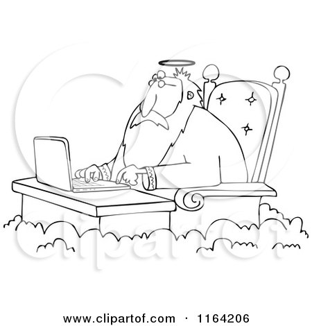Cartoon of an Outlined Jesus Working on a Laptop at a Desk in Heaven - Royalty Free Vector Clipart by djart