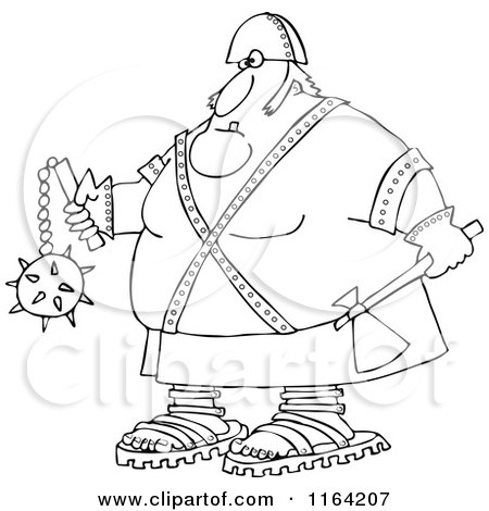 Cartoon of an Outlined Executioner Holding an Axe and Flail - Royalty Free Vector Clipart by djart