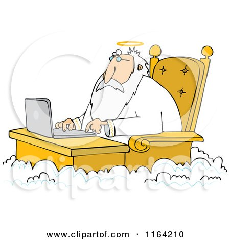Cartoon of Jesus Working on a Laptop at a Desk in Heaven - Royalty Free Vector Clipart by djart