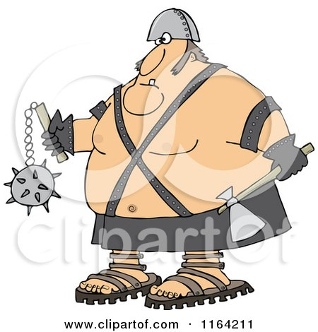 Cartoon of an Executioner Holding an Axe and Flail - Royalty Free Vector Clipart by djart