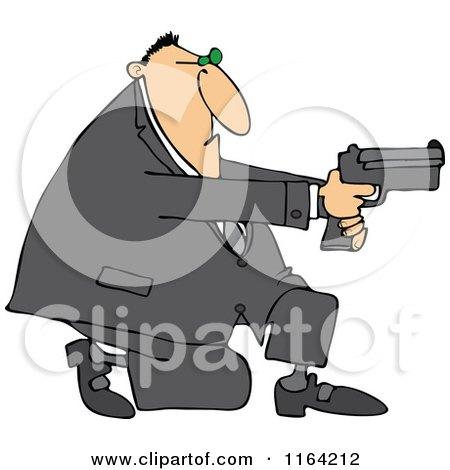 Cartoon of a Kneeling Man Using a Pistol - Royalty Free Vector Clipart by djart