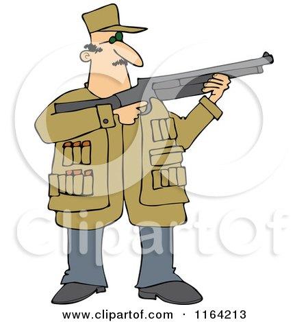 Cartoon of a Hunting Man Using a Shotgun - Royalty Free Vector Clipart by djart