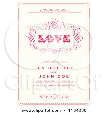 Clipart of a Distressed Beige Wedding Invitation with Love Pink Swirls and Sample Text - Royalty Free Vector Illustration by BestVector