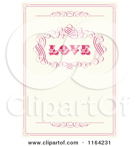 Clipart of a Distressed Beige Wedding Invitation with Love Pink Swirls and Copyspace - Royalty Free Vector Illustration by BestVector