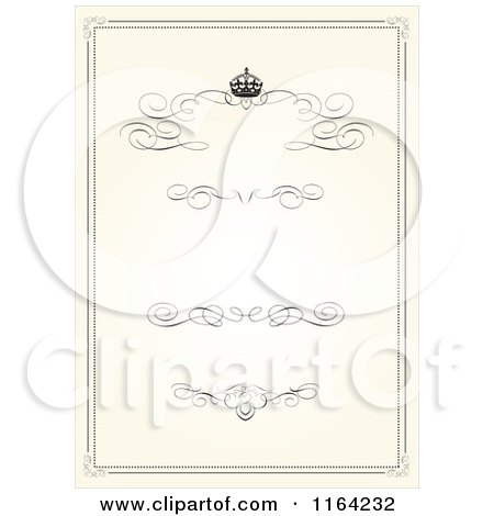 Clipart of a Vintage Beige Wedding Invitation with a Crown Swirls and Copyspace - Royalty Free Vector Illustration by BestVector