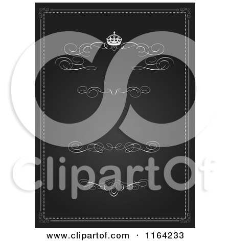 Clipart of a Vintage Black and White Wedding Invitation with a Crown Swirls and Copyspace - Royalty Free Vector Illustration by BestVector