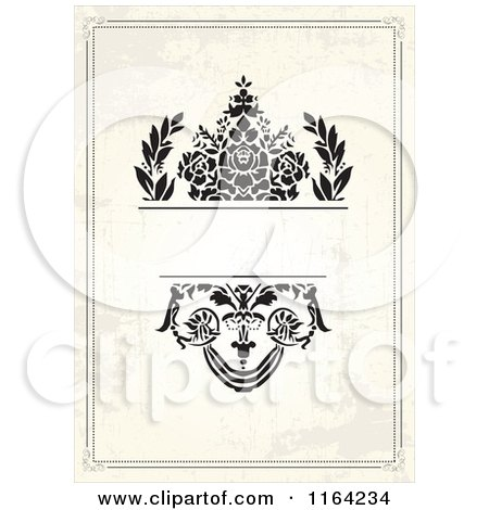 Clipart of a Distressed Beige Wedding Invitation with Flowers and Copyspace - Royalty Free Vector Illustration by BestVector