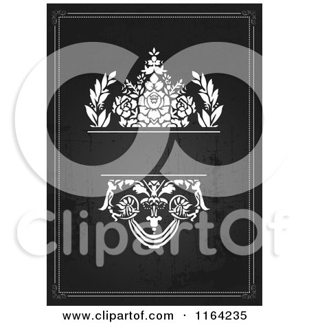 Clipart of a Distressed Black and White Wedding Invitation with Flowers and Copyspace - Royalty Free Vector Illustration by BestVector