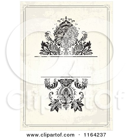 Clipart of a Distressed Beige Wedding Invitation with Flowers and Copyspace 2 - Royalty Free Vector Illustration by BestVector