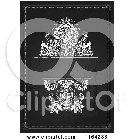 Clipart of a Distressed Black and White Wedding Invitation with Flowers and Copyspace 2 - Royalty Free Vector Illustration by BestVector