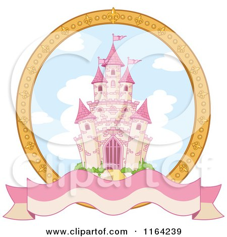 Cartoon of a Fairy Tale Castle in a Gold Frame with a Blank Banner - Royalty Free Vector Clipart by Pushkin