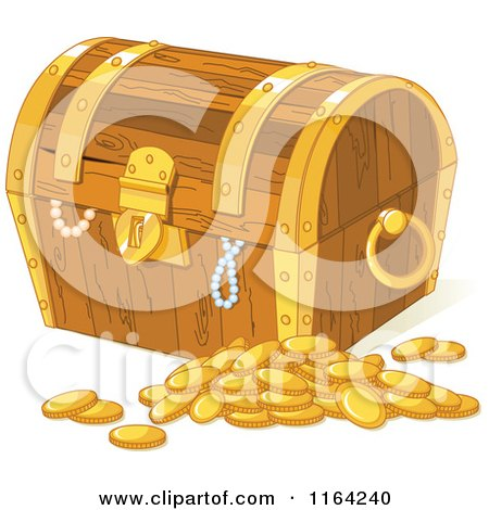 Cartoon of a Wooden Treasure Chest with Pearls and Gold Coins - Royalty Free Vector Clipart by Pushkin