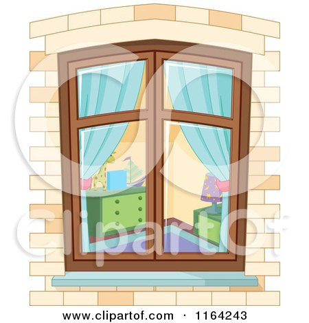 Cartoon of a View Through a Window on a Bedroom - Royalty Free Vector Clipart by Pushkin