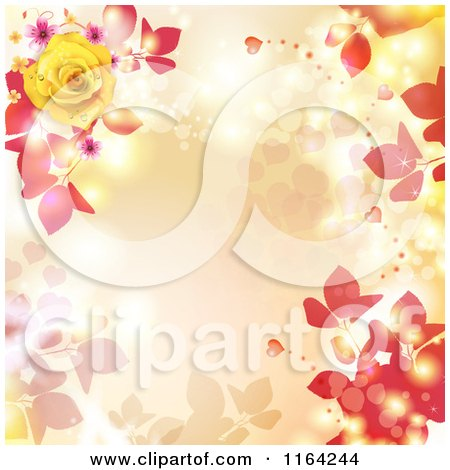 Clipart of a Floral Background with Roses Hearts and Copyspace - Royalty Free Vector Illustration by merlinul