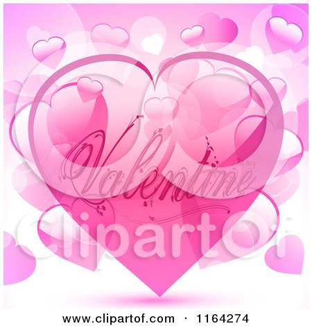 Clipart of a Pink Valentine Heart Bubble over Other Hearts - Royalty Free Vector Illustration by elaineitalia