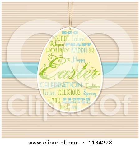 Clipart of a Hanging Easter Egg with Text over Blue Ribbon and Stripes - Royalty Free Vector Illustration by elaineitalia