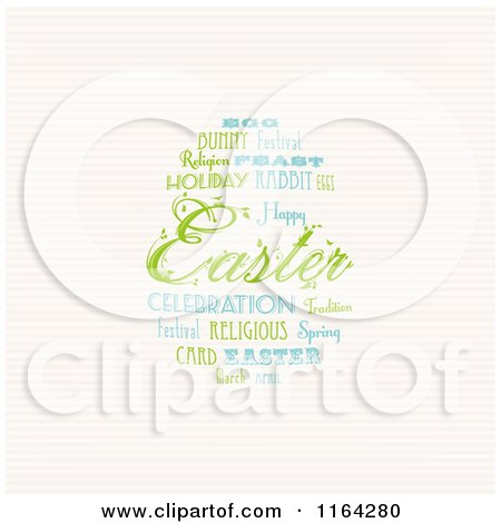 Clipart of an Easter Word Collage Forming an Egg over Stripes - Royalty Free Vector Illustration by elaineitalia