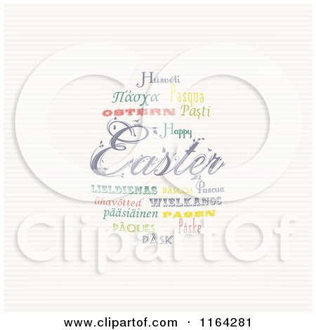Clipart of an Easter Word Collage of Words in Different Languages Forming an Egg over Stripes - Royalty Free Vector Illustration by elaineitalia