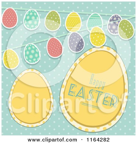 Clipart of Yellow Happy Easter Eggs with Buntings over Polka Dots on Blue - Royalty Free Vector Illustration by elaineitalia
