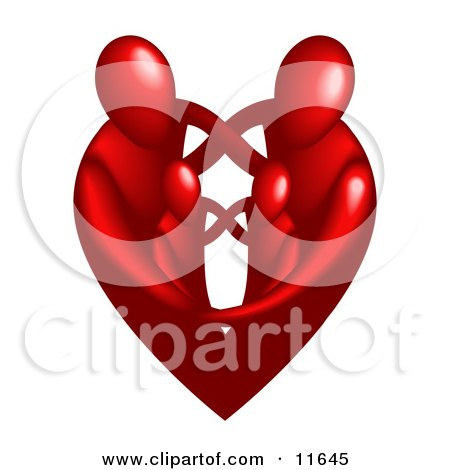 Family of Four Embracing and Forming the Shape of a Red Heart Clipart Illustration by AtStockIllustration