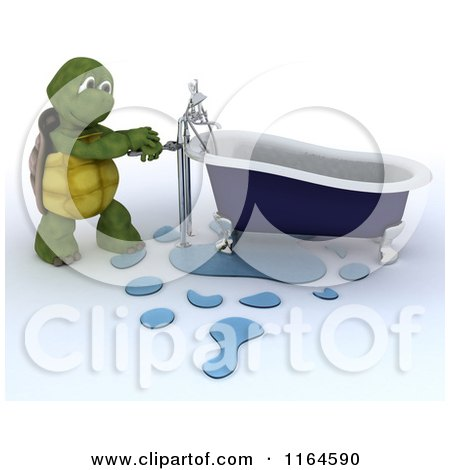 Clipart of a 3d Plumber Tortoise Fixing a Leaky Bath Tub Pipe - Royalty Free CGI Illustration by KJ Pargeter