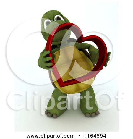 Clipart of a 3d Tortoise Holding a Red Metallic Valentine Heart - Royalty Free CGI Illustration by KJ Pargeter
