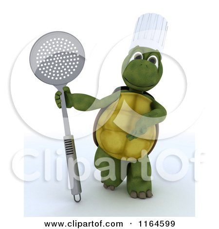 Clipart of a 4d Tortoise Chef Standing with a Straining Spoon - Royalty Free CGI Illustration by KJ Pargeter